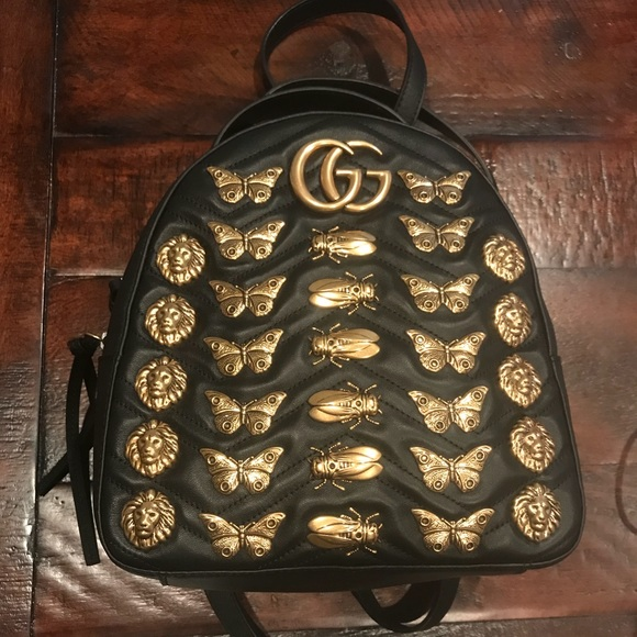 96529d3cd5d1 Gucci Bags | Gg Marmont Animal Studs Leather Backpack | Poshmark
